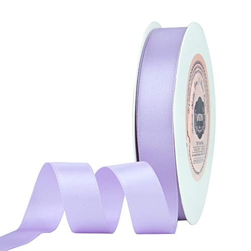VATIN 5/8 inch Double Faced Polyester Lavender Satin Ribbon - 25 Yard Spool, Perfect for Wedding Decor, Wreath, Baby Shower,Gift Package Wrapping and Other Projects