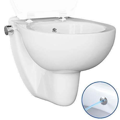 Dusch WC TEK MA5202 Bidet und WC in einem Produkt, mit integrierter Mischarmatur, Taharet, Shataff, Edelstahldüse, antibakterielle Beschichtung