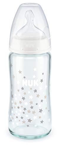 NUK First Choice+ Babyflasche aus Glas, kiefergerechter Trinksauger, 0-6 Monate, 240ml, weiß