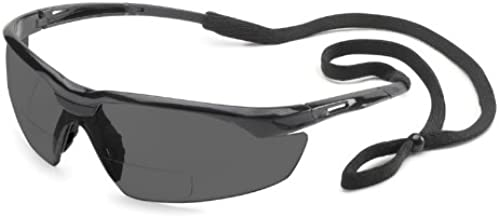 Gateway Safety 28MG25 Conqueror MAG Safety Glasses, 2.5 Diopter Magnification, Gray Lens, Black Frame
