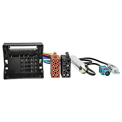 tomzz Audio 7008-002 Câble adaptateur radio compatible avec Citroën à partir de 2004 Peugeot à partir de 2005 Quadlock vers ISO + adaptateur d'antenne avec alimentation fantôme Fakra vers DIN