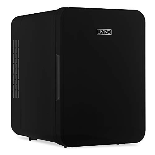 LIVIVO Mini-Kühlschrank mit Glastür, 4 l, 12 V Gleichstrom oder 240 V Wechselstrom, Dual-Eingang, geräuscharm, thermoelektrisch, perfekt für Schlafzimmer oder Lounge (schwarz)