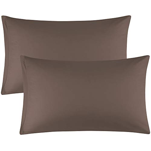 uxcell Zippered Standard Pillow Cases Pillowcases Covers, Egyptian Cotton 300 Thread Count, Pack of 2, Standard(20x26) Coffee Color
