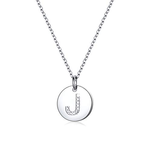 Dainty Initial Necklace S925 Sterling Silver Letters A-Z 26 Alphabet Disc Initial Necklace for Women Girl