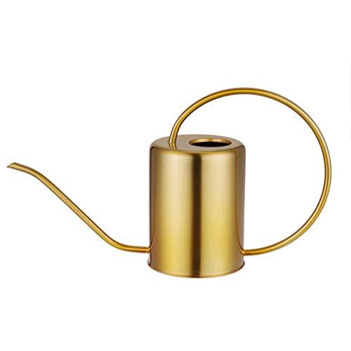 Edelstahl Gießkanne 0.3l/0.9l/1.3l/1.5l/2l Gold oder Silber Gießkanne für Hauspflanzen mit Komfortgriff, Langer Ausguss, starker Körper für drinnen und draußen