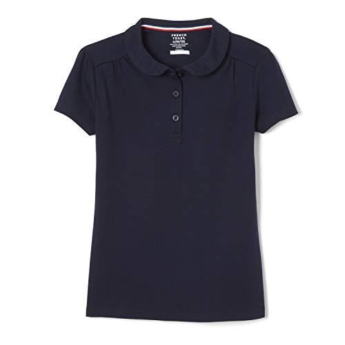 French Toast Girls' Little Short Sleeve Peter Pan Collar Polo Shirt, Navy, 6-6X