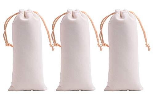 VIAMTO 10pcs 3.8x7.0''/9.5x17.5cm Cream Microfiber Velvet Drawstring Bags for Gift Packing, Cellphone, Sunglasses,Shaver, Pens, Makeup Bottles