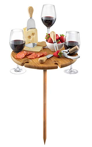 Bambusi Portable Picnic Board with Utensils - Natural Bamboo Outdoor Wine Table with Stainless Steel...