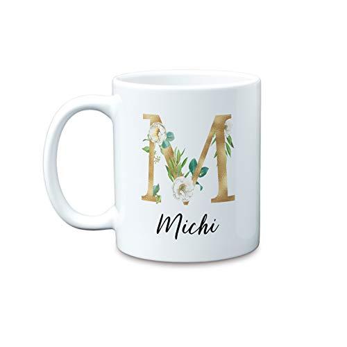 Buchstaben in Gold und eukalyptus mit Name große personalisierte Kaffee-Tasse als Geschenk-Idee zum Geburtstag Jahrestag Weihnachten Hochzeit Verlobung
