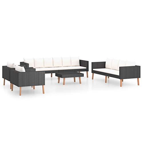 vidaXL Set de Muebles de Jardín 5 Piezas y Cojines Mobiliario Exterior Hogar Cocina Terraza Mesa Silla Asiento Suave Respaldo Ratán Sintético Negro