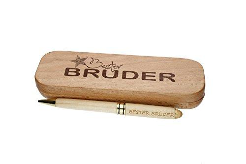 """Kugelschreiber mit Gravur\""""Bester Bruder\"""" in Geschenk-Schachtel aus Holz die Geschenkidee Stift graviert"""