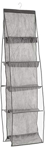 HOMZ 10, Grey and Clear Pockets Hanging Closet Purse Organizer