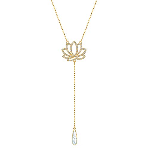 Swarovski Symbolic Lotus Necklace, Brilliant White Crystals with Elegant Gold-Tone Plated Metal, from the Swarovski Symbolic Collection