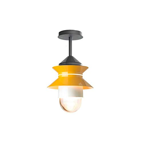 Lámpara Colgante de Techo E27 8-15W con difusor de Cristal soplado y prensado, Modelo Santorini plafón, Color Mostaza, 21,2 x 21,2 x 38,6 centímetros (Referencia: A654-028)