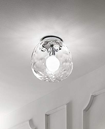 PERENZ Lampada da Soffitto con stuttura Cromo lucido Plafoniera con Diffusore in Vetro trasparente diametro 30 cm Lampadina 1xE27 max. 60W non inclusa