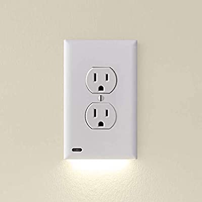 3 Pack - SnapPower GuideLight 2 for Outlets [New Version - LED Light Bar] - Night Light - Electrical Outlet Wall Plate With LED Night Lights - Automatic On/Off Sensor - (Duplex, White)