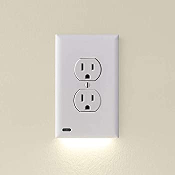 3 Pack - SnapPower GuideLight 2 for Outlets [New Version - LED Light Bar] - Night Light - Electrical Outlet Wall Plate with LED Night Lights - Automatic On/Off Sensor -  Duplex White
