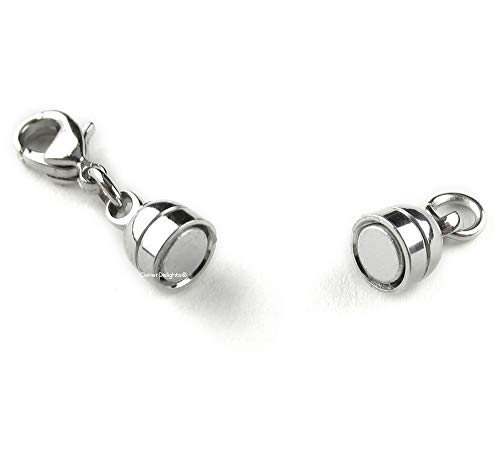 20 CleverDelights Magnetic Jewelry Clasps - Capsule Style + Lobster Clasp - Silver Color - Converter