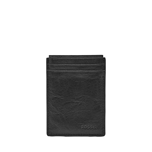 Fossil Men's Neel Leather Minimalist Front Pocket Card Case Wallet, Black
