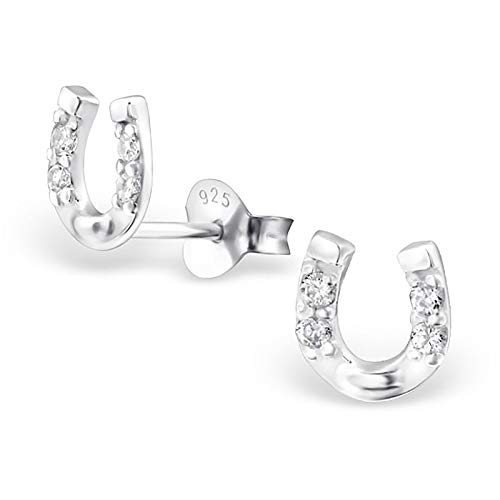 Monkimau Mädchen Ohrringe Hufeisen Glücksbringer Ohrstecker aus 925 Sterling Silver echt Silber mit 8 Kristallen