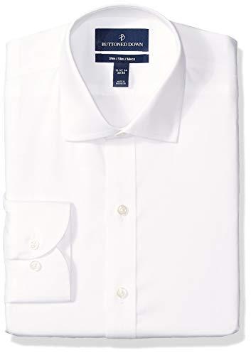 Amazon Brand - Buttoned Down Men's Slim Fit Spread-Collar Micro Twill Non-Iron Dress Shirt, White, 16.5