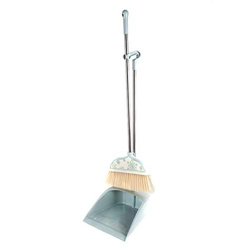 WUCHENG Wohnzimmer Reinigung Einfache Ginster und Besen Pfannen mit komfortablem Griff Supplies Besen (Color : Blue, Size : 77.5 * 36cm)