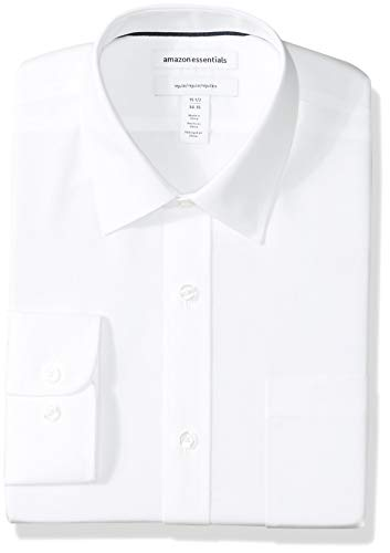 "Amazon Essentials Men's Regular-Fit Wrinkle-Resistant Long-Sleeve Solid Dress Shirt, White, 17.5"" Neck 34""-35"" Sleeve"