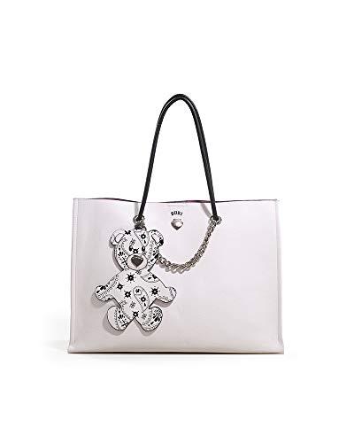 LE PANDORINE Shopper Bubi Bag ISTANTE con chiusura a bottone. Applicato al manico ha un simpatico tag staccabile a forma di orsacchiotto. Testo: E' bello vivere perché vivere è cominciare, sempre ad o