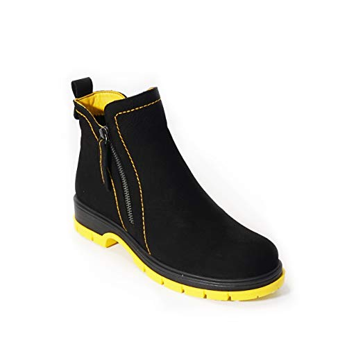 KUZEY SHOES Zapatos para mujer, botines de mujer, botines de invierno, botas para mujer, botas de mujer, botas de piel Chelsea para mujer, color Negro, talla 37 EU
