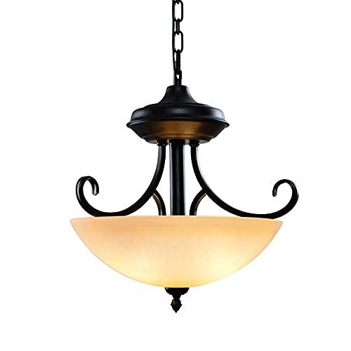 Lámpara colgante retro de 3 llamas, cuerpo de hierro forjado rústico + lámparas colgantes con pantalla inferior redonda, portalámparas E27, luces colgantes simples negras para comedor, isla de cocina