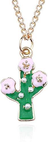 MNJKH Halskette Schöne Perle Kaktus Halskette Frauen Emaille Baum Blume Halsketten Anhänger Pflanze Gold Link Kette Schmuck
