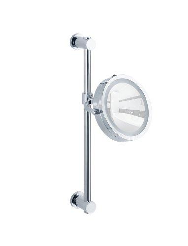 WENKO Power-Loc® LED Wandspiegel Carpi - Befestigen ohne bohren, Spiegelfläche ø 17,5 cm 500 % Vergrößerung, Stahl, 25.5 x 50.5 x 23 cm, Chrom