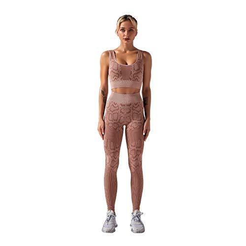 J'asayla Yoga Outfits per le donne 2 pezzi senza cuciture allenamento set reggiseno sportivo con vita alta leggings per le donne, Caff, L