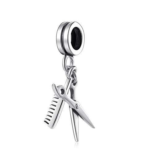 Charm Anhänger,925 Sterling Silber Friseur Werkzeuge Schere Und Kamm Perle Charme Für Frauen Passen Armband Schmuck Geschenk