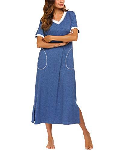 ADOME Nachthemd Baumwolle Nachtkleid Sommer still Pyjama lang Nachtwäsche Negligee Sleepshirt Schlafkleid V-Ausschnitt (L, 6619_hellblau)