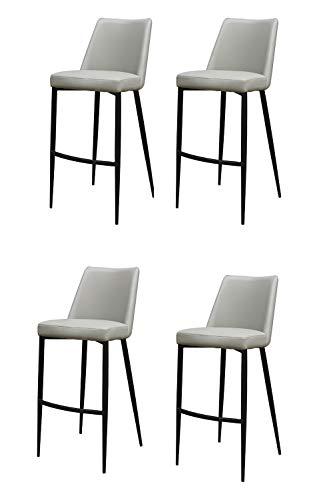 Meubletmoi Juego de 4 sillas de bar de imitación gris con 4