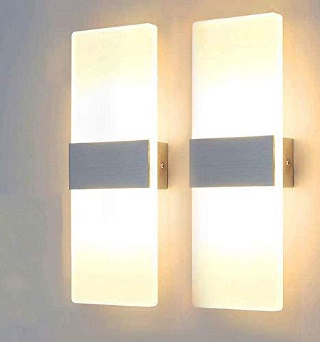 Lightess Applique Murale Intérieur LED Moderne 2 * 12W Acrylique en Aluminium Up Down Eclairage Décoration Carré Lumière pour Chambre Escalier Couloir Salon Salle Bar Retaurant Blanc Chaud