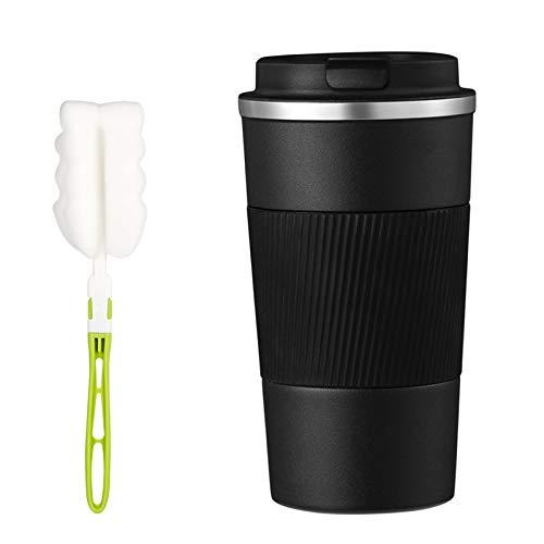 metagio Reisebecher Isolierbecher Kaffeebecher Auslaufsicher Vakuum Tasse, Doppelwandige Isolierung Edelstahlflasche mit Reinigungsschwamm für Kaffee, Tee (500 ml)