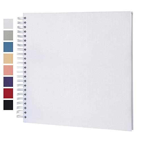 potricher 12 x 12 Inch DIY Scrapbook Photo Album Hardcover Kraft Blank White Page Wedding and Anniversary Family Photo Album (White  12Inch)