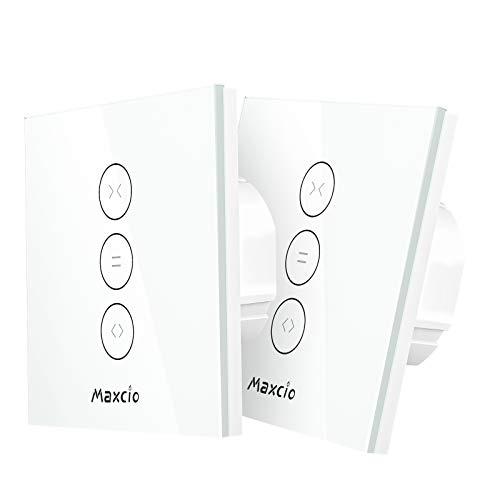 Smart Rolladen Zeitschaltuhren, Maxcio WlanRolladen Vorhang Schalter, Kompatibel mit Alexa und Google Home, APP Fernbedienung und Timer, Touch-Schalter, Nullleiter Erforderlich - 2 Packs