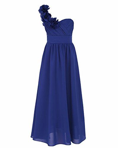 YiZYiF Kinder Mädchen Prinzessin Kleid Hochzeits Festzug Kleid Blumenmaedchenkleid Partykleider Brautjungfer Gr. 104 116 128 140 152 164 Dunkel Blau 128
