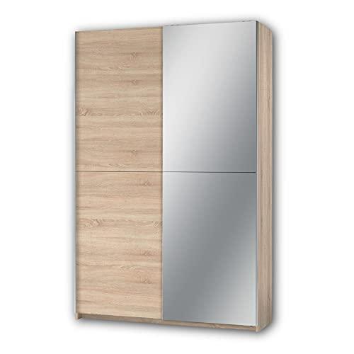 Stella Trading FAST Eleganter Kleiderschrank / Garderobenschrank mit Spiegeltür & viel Stauraum - Vielseitiger Schwebetürenschrank in Sonoma Eiche Optik - 125 x 195 x 38 cm (B/H/T)