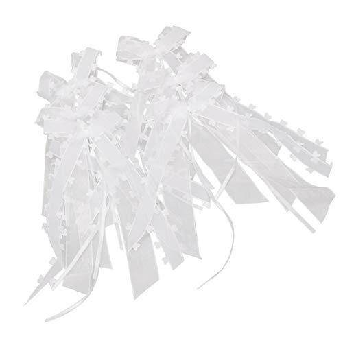 FAM STICKTILES 40 STK. Autoschleifen Antennenschleifen, Deko Schleifen Weiß Autoschleifen Hochzeit mit Herzen für Dekoration