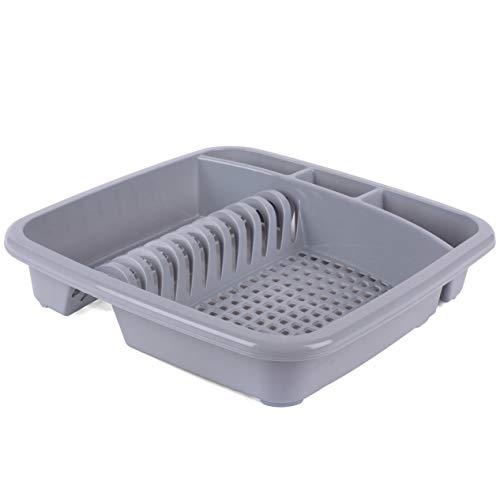 Beldray LA057358GREYEU Plastic Dish Drainer with Cutlery Rack, Grey