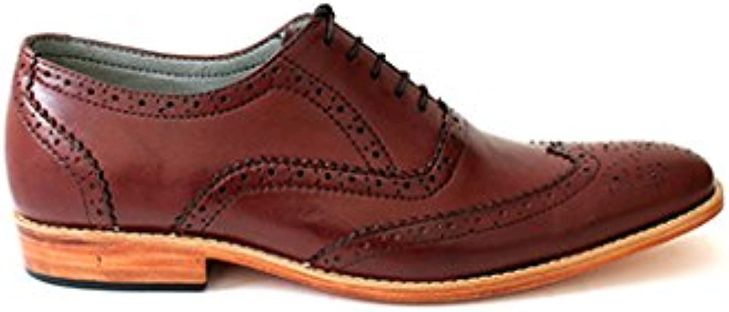 TAAVETTI Men's Formal Brown Handmade Leather Crown Brogue shoes