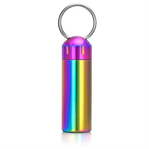 Small Pill Case Waterproof Keychain Pill Box Portable Single Chamber Stainless Steel Pill Container for Pocket or Purse (Colorful)