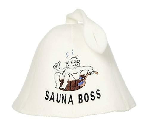 Natural Textile Saunahut 'Sauna Boss Bucket' White - 100% organische Wollfilzmützen - Schützen Sie Ihren Kopf vor Hitze - Englische Sauna E-Book Handbuch inklusiv - mit Stickerei