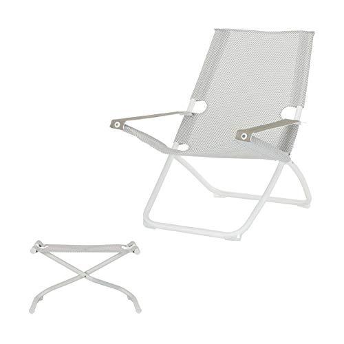 Snooze Liegestuhl mit Hocker 75 x 91 cm - weiß/EIS