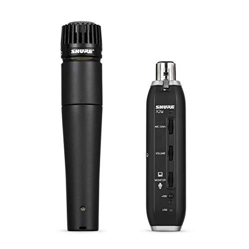 Shure SM57-X2U dynamisches Instrumentenmikrofon mit Nierencharakteristik, inkl. XLR-auf-USB-Adapter