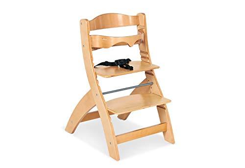 Pinolino Treppenstuhl Thilo, inkl. Bügel und höhenverstellbarem Sitz- und Fußbrett, mitwachsend, für Babys und Kinder von ½ – 8 Jahren, massives Holz
